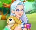 Crystal adopta un conejito