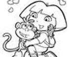 Dibujo para colorear de Dora y el mono Botas