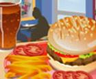 Hamburguesa, patatas y Cola