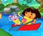 Puzzle de Dora Exploradora y Botas haciendo Rafting