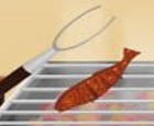 Vendedor de pescado a la parrilla