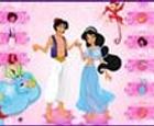 Vestir a Aladdin y Jasmin.