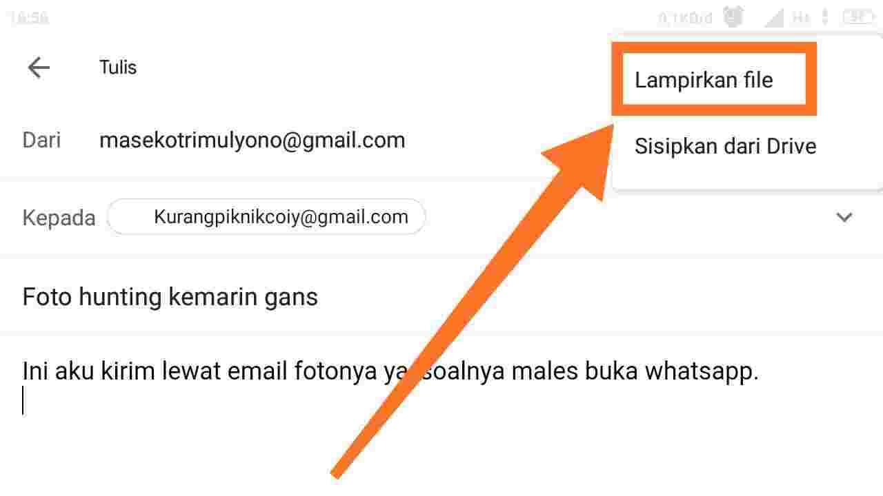 Cara mengirim Tugas lewat email