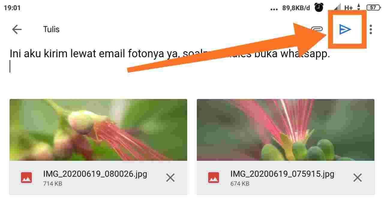 Cara mengirim foto lewat Email di HP Xiaomi