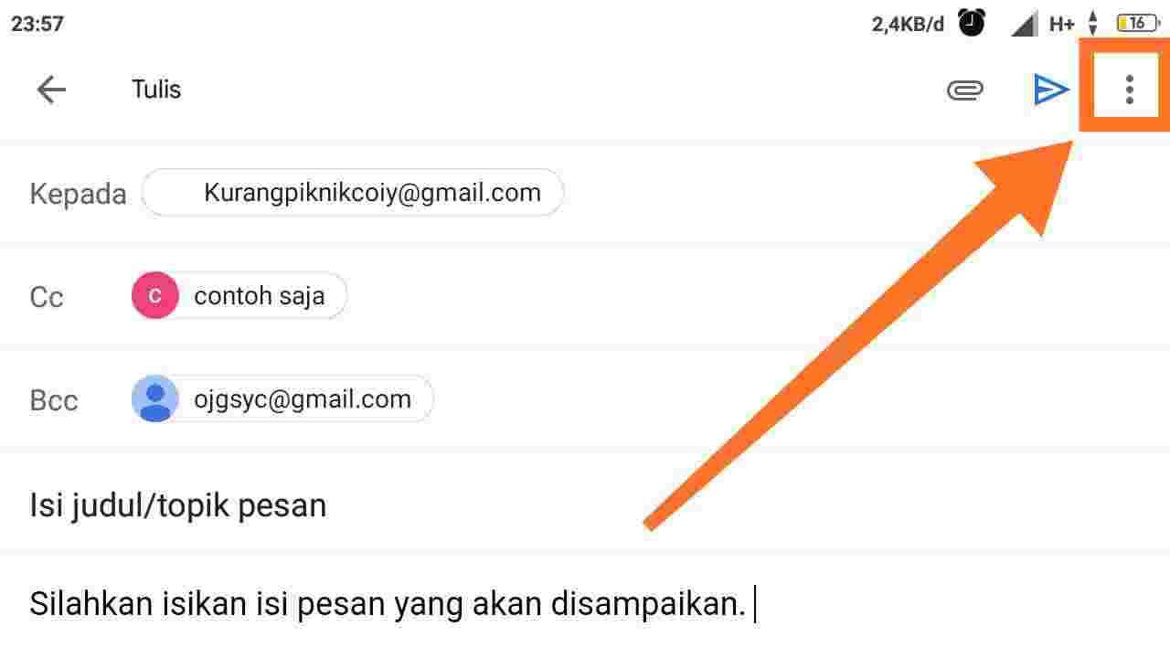 Cara membatalkan pengiriman email di HP