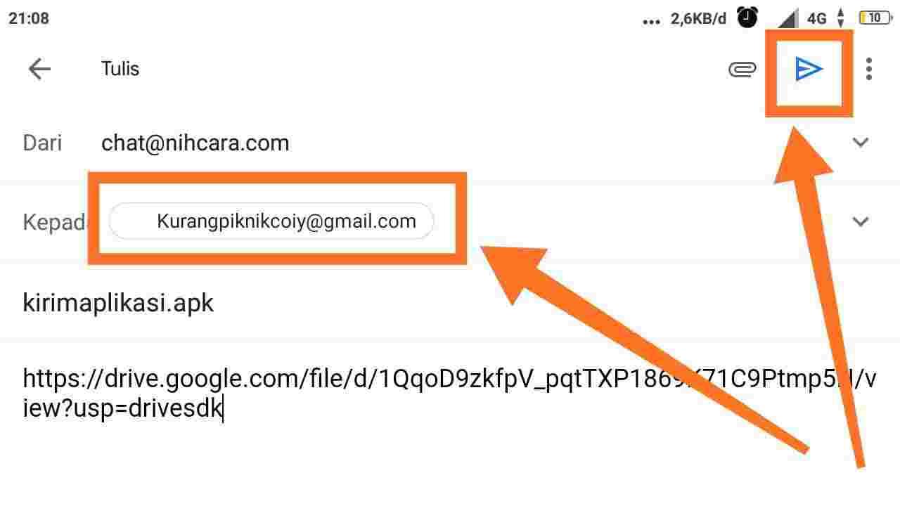 Cara mengirim aplikasi lewat Gmail