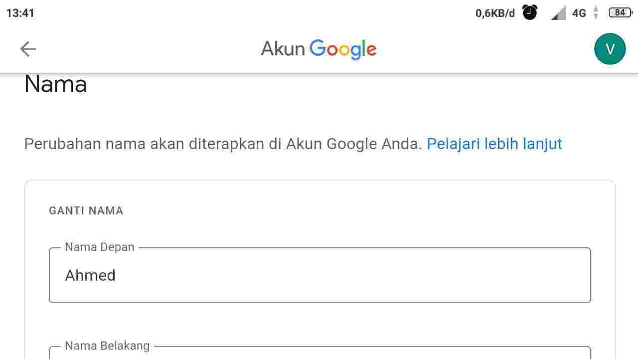 Cara ubah nama gmail