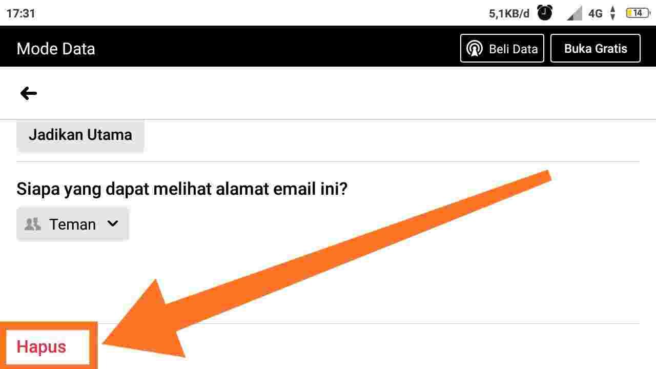 2 cara menghapus email di facebook