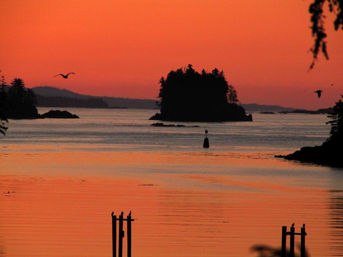 Sunrise over Beg Island in Ucluelet
