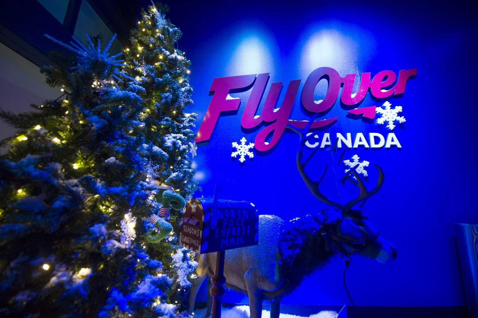 Christmas entrance to FlyOver Canada