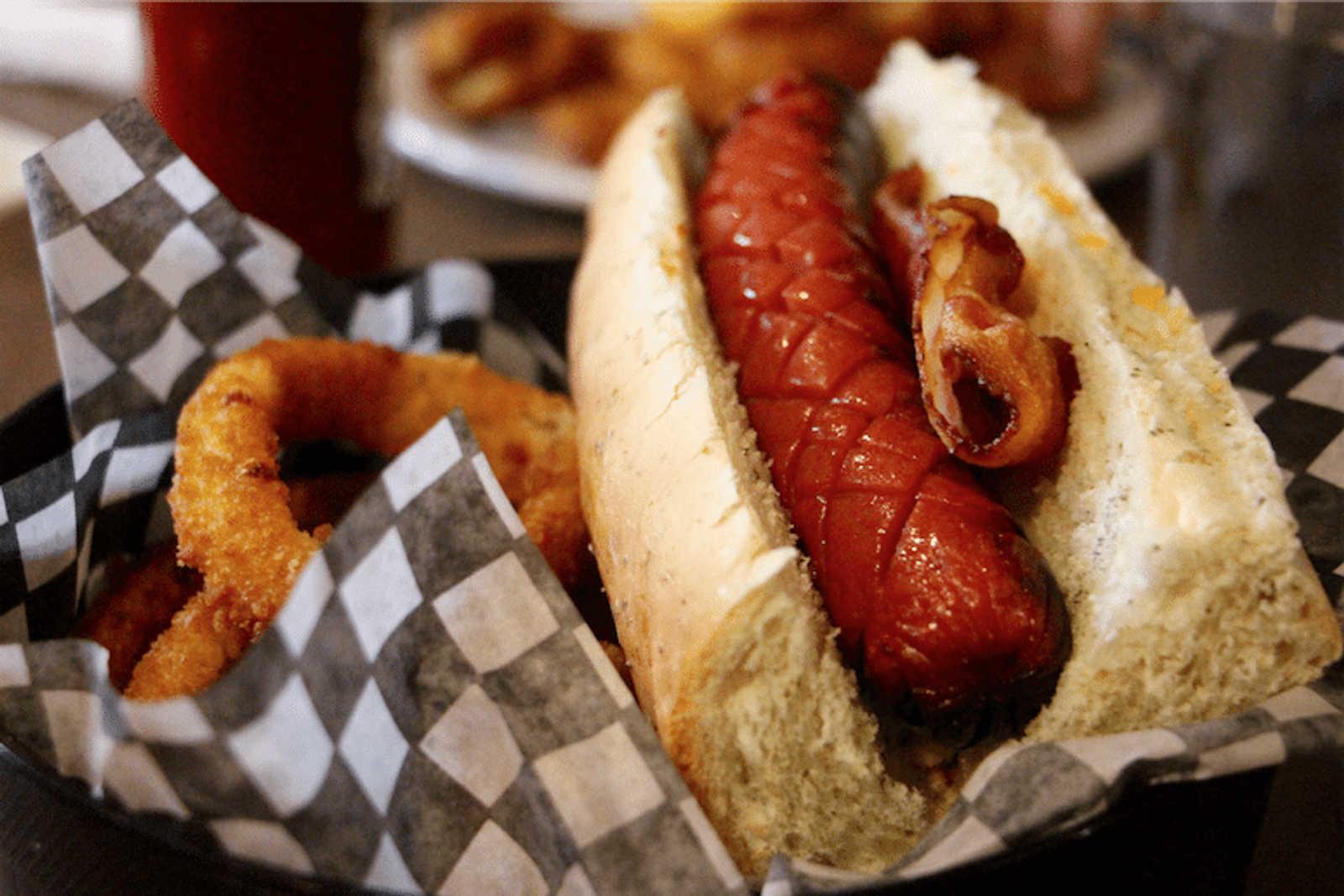 Hot Dog & Onion Rings at Long John's Pub