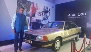 Shastri with the Audi that he won in 1985