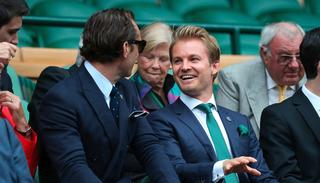 Current Formula one champion Nico Rosberg shares a light moment with actor Jude Law