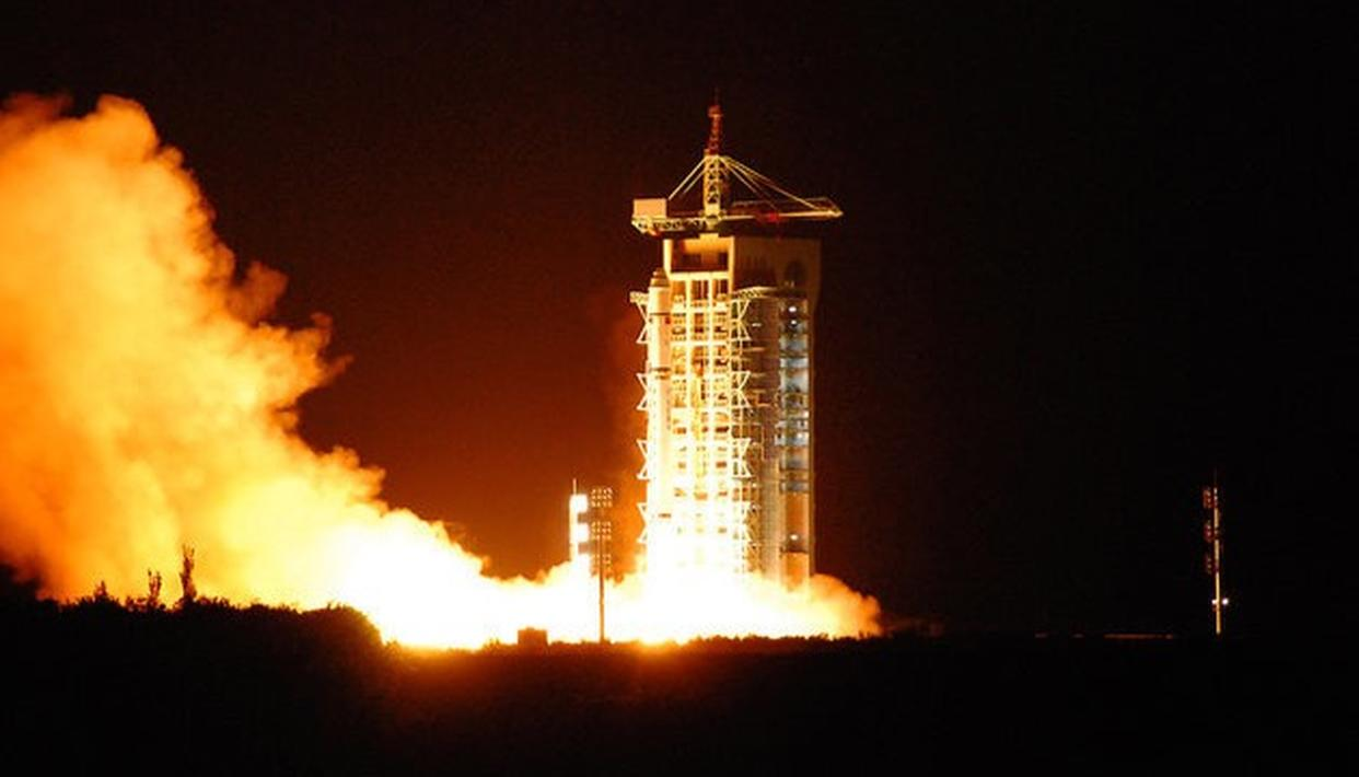 Launch of the Micius satellite in 2016. (Source: Getty Images)