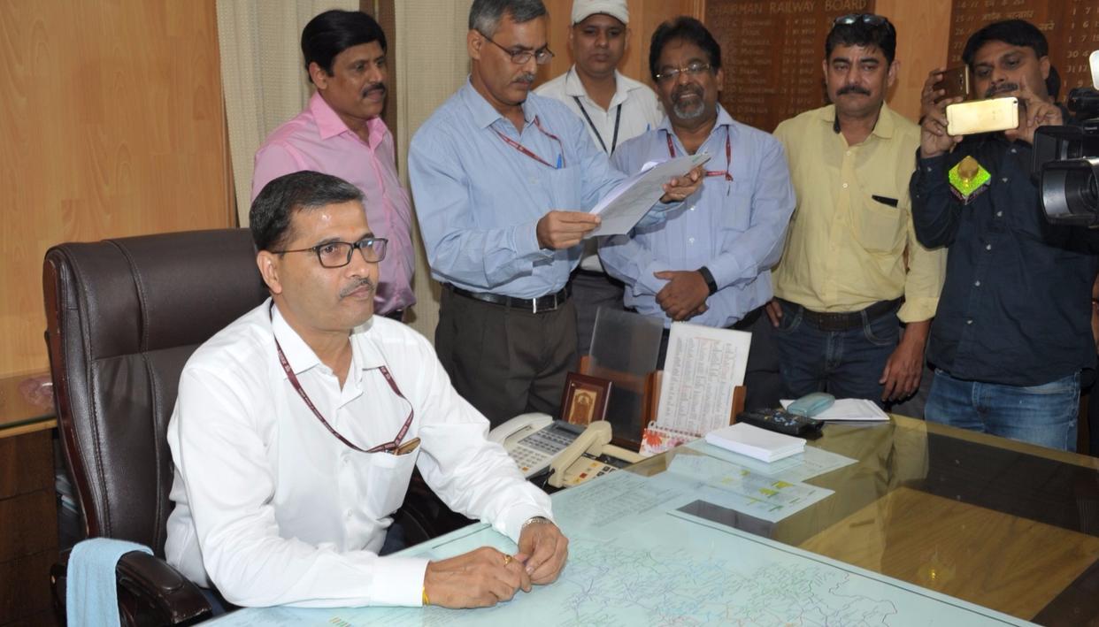 New Chairman Railways Board Ashwani Lohani at Rail Bhawan (Source: Twitter)