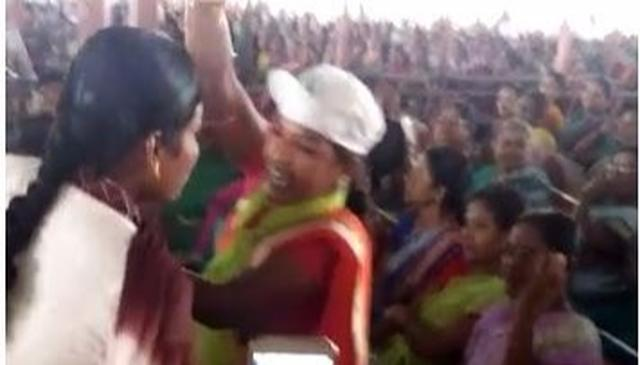 WATCH   Woman questions KCR; dragged out
