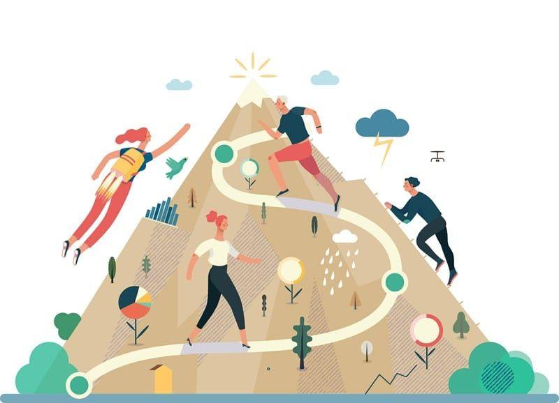 Hop na hrib navzgor, po markiranih poteh, čez steno ali pa kar poletimo na cilj