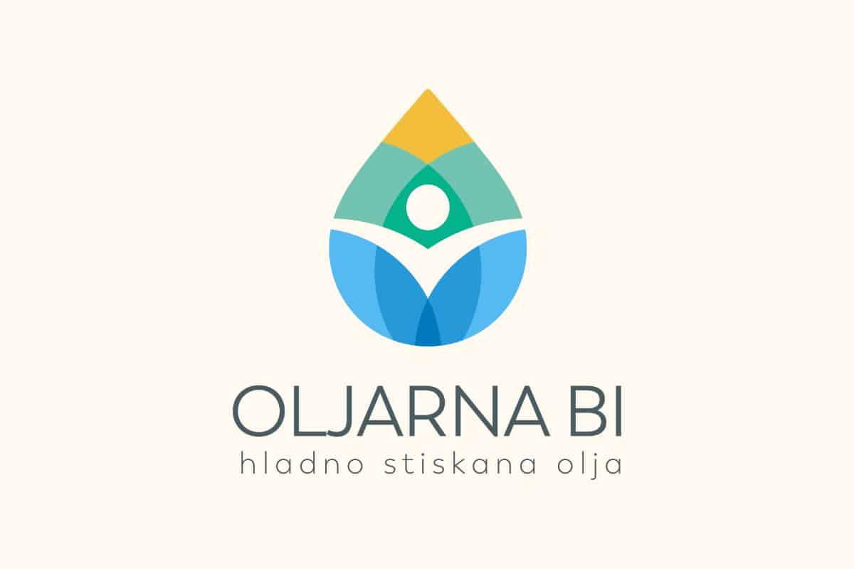 Logotip oljarne kot kapljica zdravja z človekom na sredini