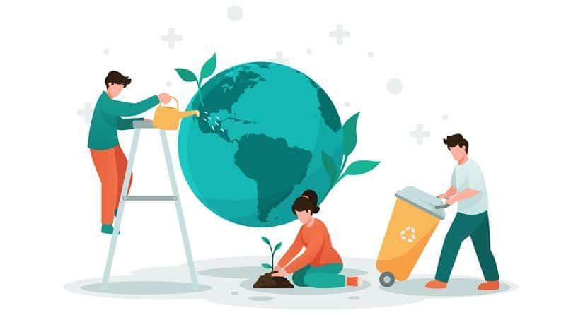 Ljudje v ilustraciji pomagajo materi zemlji z trajnostnim delovanjem