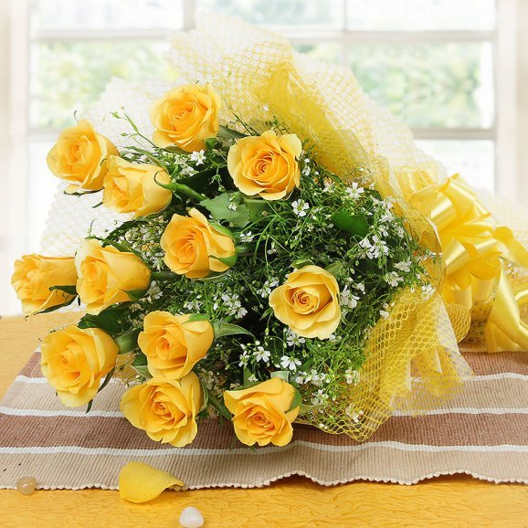12 Yellow Roses Bunch on Table
