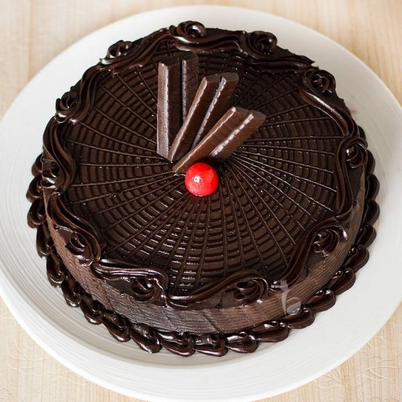 Chocolate Truffle Cake with Top View