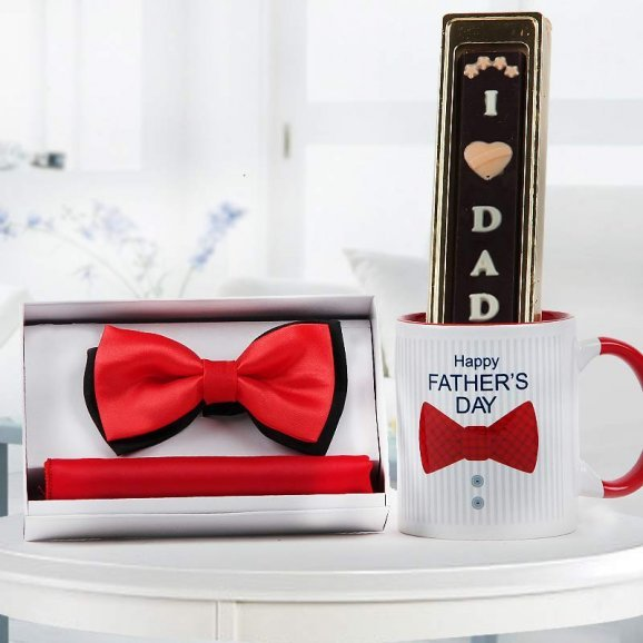 Pocket square and bow tie with Happy Father's day quoted personalised mug and handmade chocolate