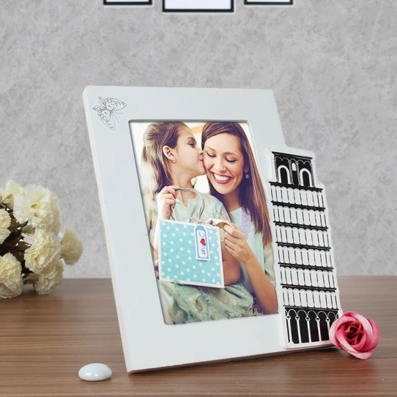 Leaning Tower of Love - Personalised Photo Frame with Pisa Tower with Oblique View