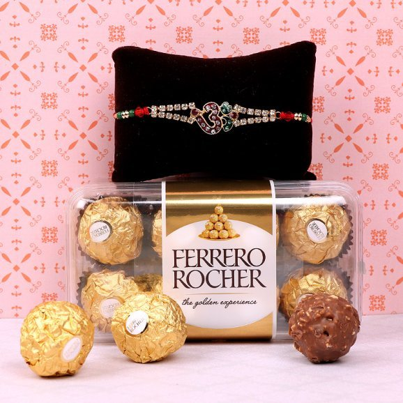 OM Rakhi and Chocolates Combo for Brother