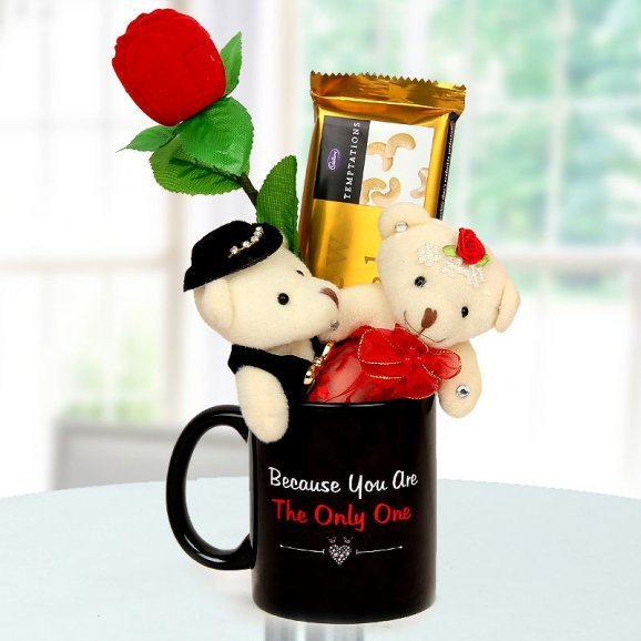 A rose box Two 6 inch couple teddy A Coffee Mug and A Temptation Cashew Appeal