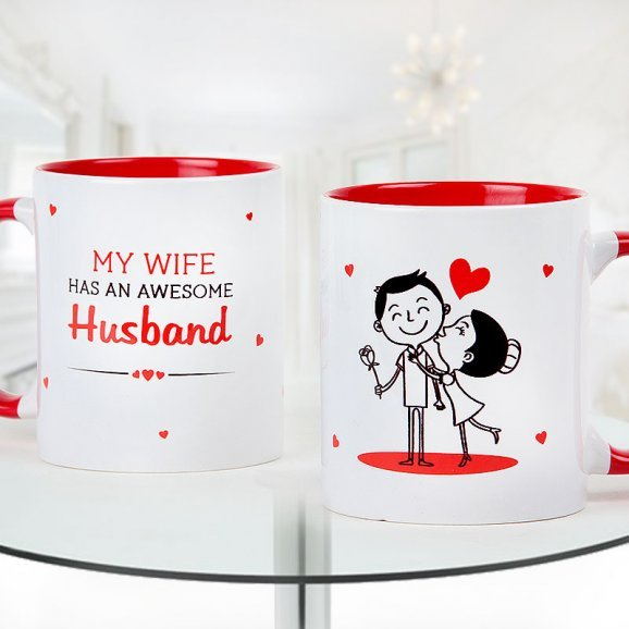 My wife has an awesome husband - White and red duotone mug