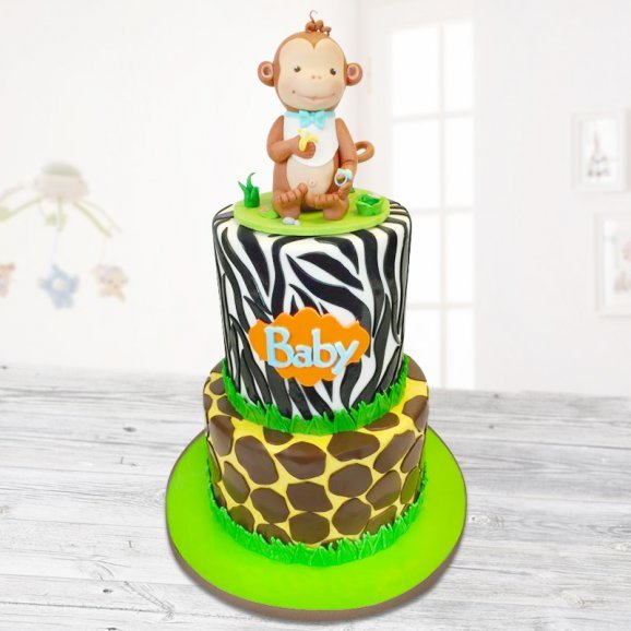 Two tier monkey cake for kids