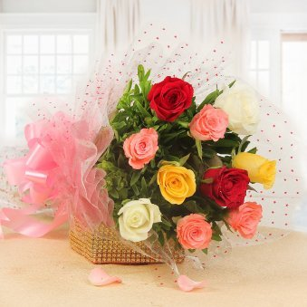 10 Mixed Color Roses In Horizontal View