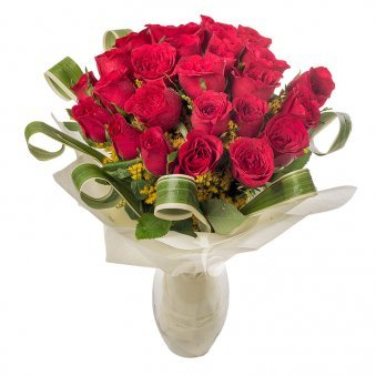 Bunch of 26 Red Roses in Glass Vase with Close View