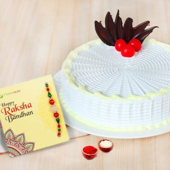 Rakhi with 1 kg vanilla cake in India