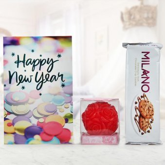 Milano Cookies, A Scented Candle and a New Year Greeting Card.