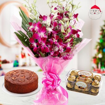 bunch of 6 Orchids aesthetically wrapped with 1/2 kg freshly baked plum cake and a pack of 16 Ferrero Rochers for Christmas