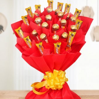 Mega chocolate bouquet - A bouquet of 16 ferrero rocher and 13 five star chocolates