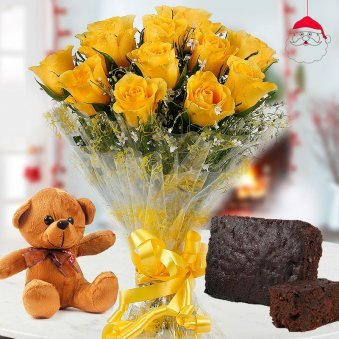 sun-kissed bouquet of 12 Yellow Roses with 6