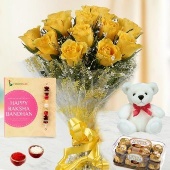 Rakhi with Yellow Roses, Teddy and Ferrero Rocher Combo