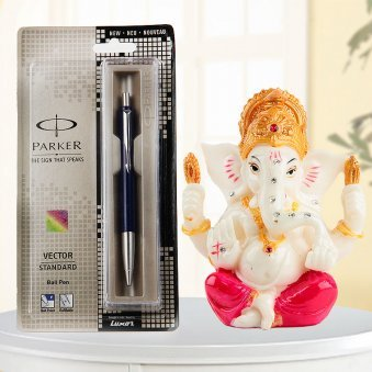 A combination of Parker pen and Lord Ganesha God idol