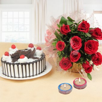 Glowing Affection Combo - 10 red roses with half kg cake and 2 diyas