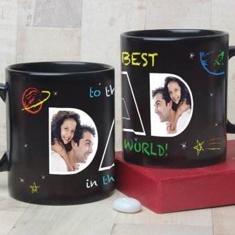 My Hero My Dad - Black Personalised Mug with Both Sided View