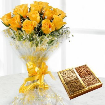 12 Yellow rose flowers with 1/2 kg dry fruit
