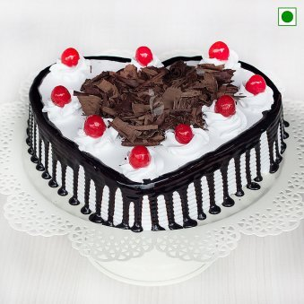 Eggless Heart Shaped Blackforest Cake