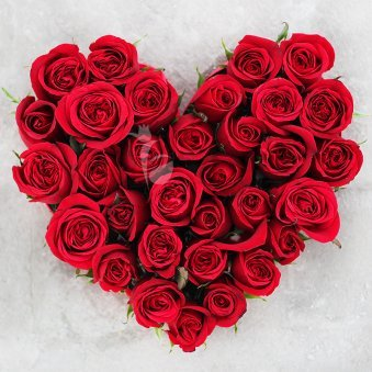 Basket Of 35 Heart Shaped Red Rose Flowers