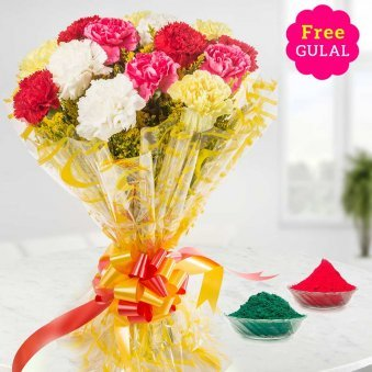 Holi flowers - Mix Carnation flowers bunch with Gulal