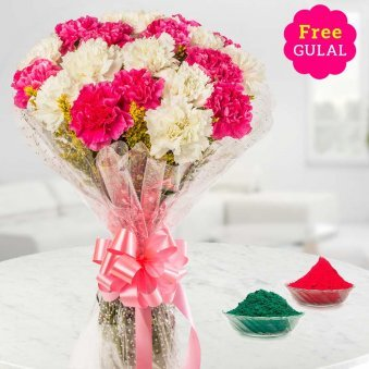 Holi flowers - White and red carnation bunch with free Gulal