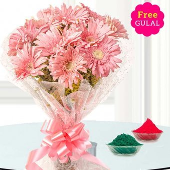 Holi flower - Pink gerberas bouquet with free gulal
