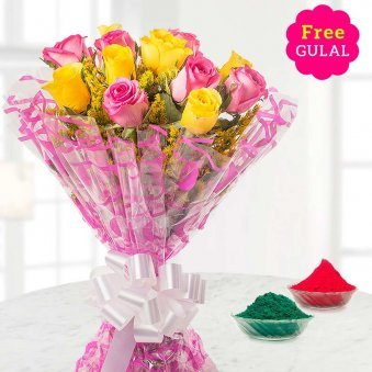 Holi flower - Yellow and pink rose flowers bunch with free gulal