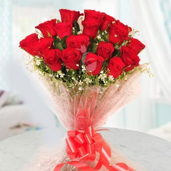 20 red roses Bunch on Table